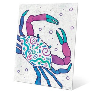 Watercolor Crab Blue Purple And Teal Wall Art on Metal