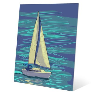Sailing on Electric Blue Wall Art on Metal