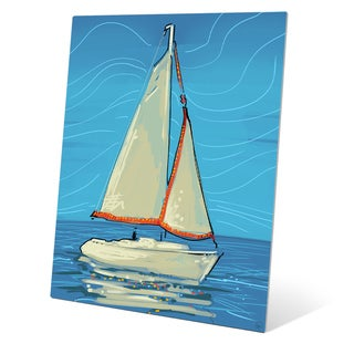 White and Red Sails Wall Art on Metal