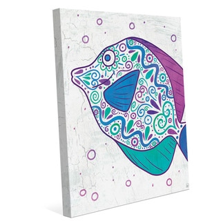 Watercolor Tang Teal Purple And Blue Wall Art on Canvas