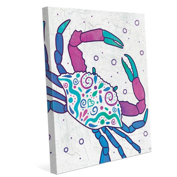 Watercolor Crab Blue Purple And Teal Wall Art on Canvas