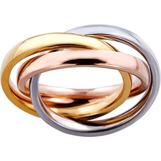 Hakbaho Jewelry Tri-color Bands Stainless Steel Rolling Ring