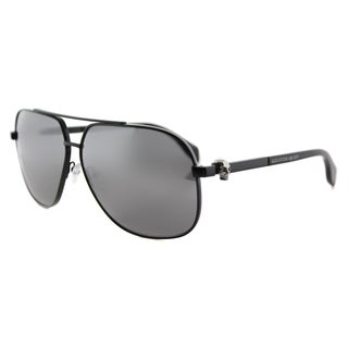 Alexander McQueen AM 0019S 001 Black Metal Aviator Silver Mirror Lens Sunglasses