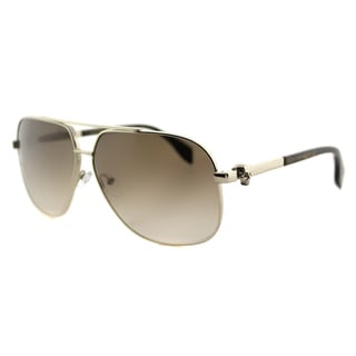 Alexander McQueen AM 0019S 002 Light Gold Havana Metal Aviator Brown Gradient Lens Sunglasses