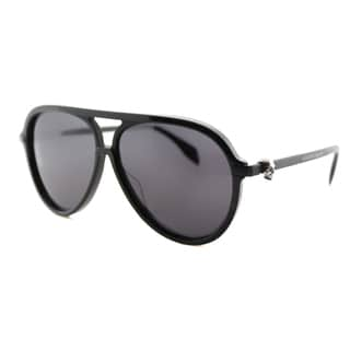 Alexander McQueen AM 0020S 001 Black Plastic Aviator Grey Lens Sunglasses