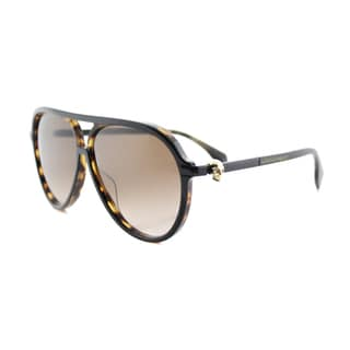 Alexander McQueen AM 0020S 002 Havana Plastic Aviator Brown Gradient Lens Sunglasses