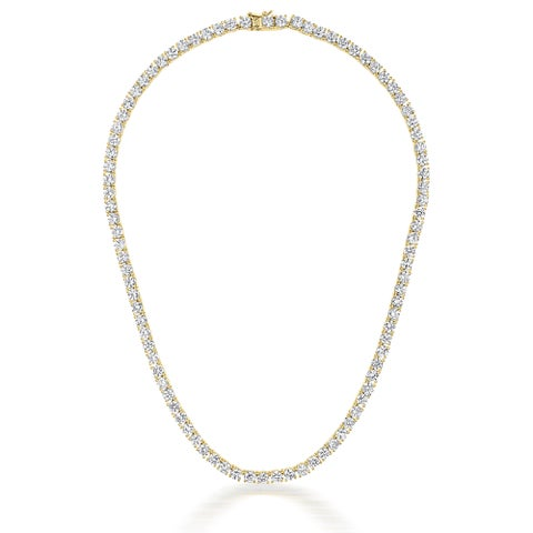 Collete Z Sterling Silver Cubic Zirconia gold plated 4MM Tennis Necklace - White