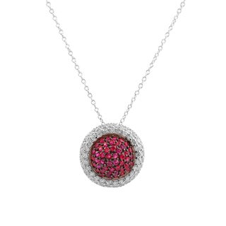 Collete Z Cubic Zirconia Sterling Silver Rhodium Plated Round Ruby Pendant