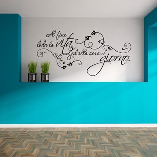 Style & Apply 'Al Fine Loda' Black Vinyl Wall Decal