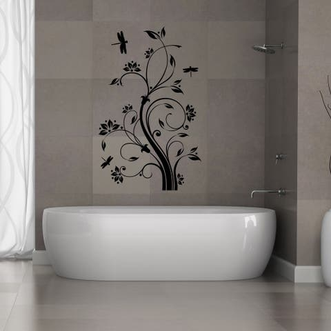 Dragonfly Tendril Vinyl Wall Decal