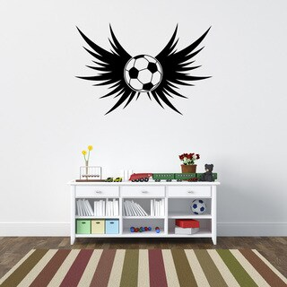Style & Apply Soccer Wings Black Vinyl Wall Decal