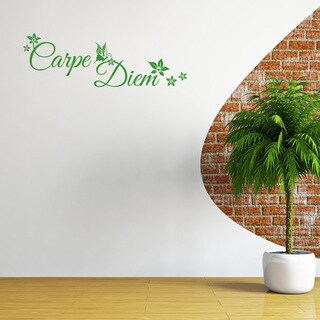 'Carpe Diem Floral' Solid Colored Wall Decal (More options available)