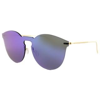 Illesteva Leonard II Mask BM 01 Leonard II Mask Plastic Round Blue Mirror Lens Sunglasses