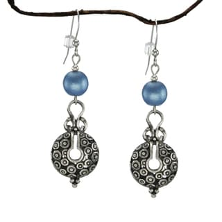 Jewelry by Dawn Blue Satin Glass Bead Vintage Style Pewter Earrings