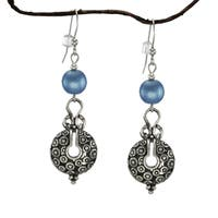 Handmade Jewelry by Dawn Blue Satin Glass Bead Vintage Style Pewter Earrings (USA)