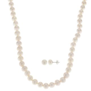 Pearls For You Sterling Silver White 8-9-millimeter Freshwater Pearl Necklace and Earring Set