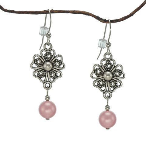 Handmade Jewelry by Dawn Crystal Rose Pearl Pewter Flower Earrings (USA)