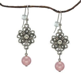 Jewelry by Dawn Crystal Rose Pearl Pewter Flower Earrings