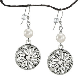 Jewelry by Dawn White Crystal Pearl Pewter Medallion Earrings