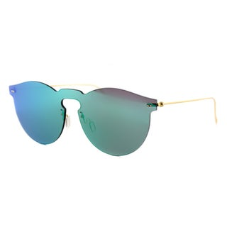 Illesteva Leonard Mask GM 10 Leonard Mask Plastic Round Green Mirror Lens Sunglasses