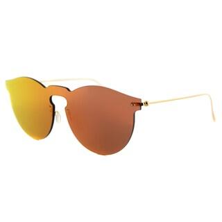 Illesteva Leonard Mask RM 06 Leonard Mask Plastic Round Red Mirror Lens Sunglasses