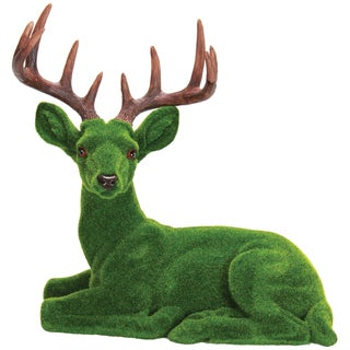 Resin 17-inch Moss-coated Deer Garden Statue