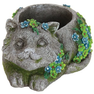 Resin Stone-finish Cat Planter