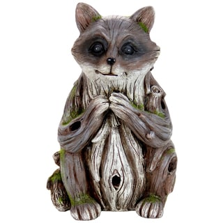 Exhart Multicolored Resin Solar Woodland Raccoon