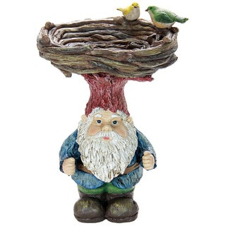 Resin 15-inch Gnome Hat Bird Bath