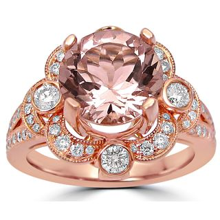 Noori 2 4/5 ct TGW Round Morganite Diamond Engagement Ring Vintage Style 14k Rose Gold