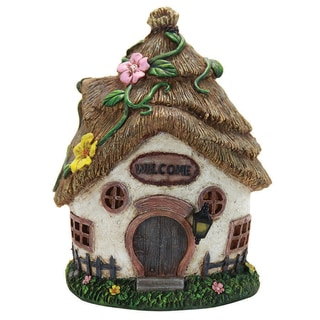 Exhart Resin 11-inch Solar Straw Roof Cottage Garden Statue