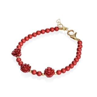 Red Flowers with Gold Filled Bead Baby Bracelet