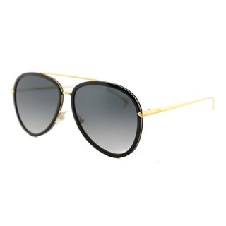 Fendi FF 0155 MY2 Funky Angle Black Yellow Gold Metal Aviator Grey Gradient Lens Sunglasses