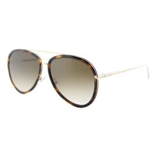 Fendi FF 0155 V4Z Funky Angle Havana Gold Metal Aviator Brown Gradient Lens Sunglasses