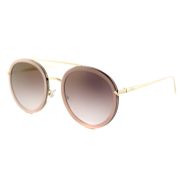 90bf388f03 Shop Fendi FF 0156 V54 Funky Angle Rounded Pink Gold Metal Aviator Gold  Mirror Lens Sunglasses