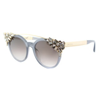 Jimmy Choo Vivy PR7 Opal Grey Plastic Round Brown Gradient Lens Sunglasses