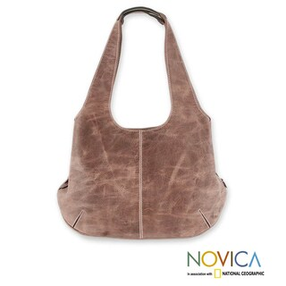Handcrafted Leather 'Urban Honey' Large Hobo Handbag (Mexico) (As Is Item)