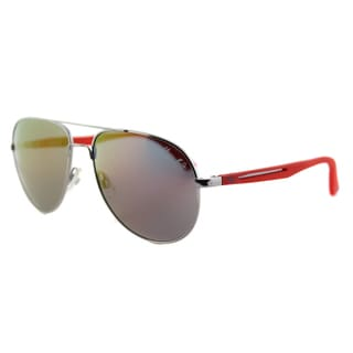 Puma PU 0007S 006 Flexstyle V2 Usain Bolt Ruthenium Metal Aviator Red Mirror Lens Sunglasses