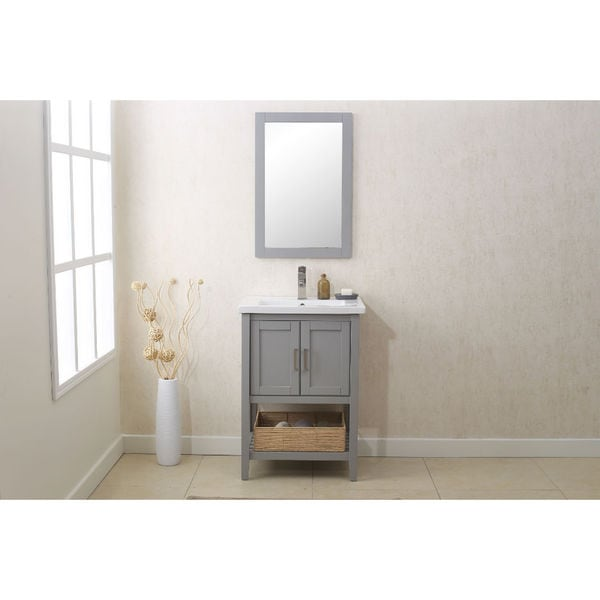 Shop 24 In Grey Bathroom Vanity With Single Sink Mirror And Faucet Free Shipping Today
