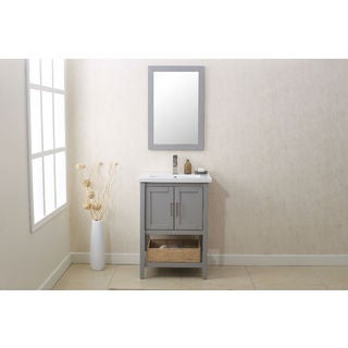 Legion Furniture Grey 24-inch Bathroom Vanity with Matching Mirror and UPC Faucet