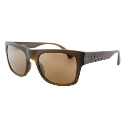 Puma PU 0038S 006 Ignite 600 Matte Brown Plastic Rectangle Gold Mirror Lens Sunglasses