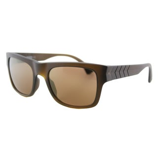 Puma PU 0038S 006 Ignite 600 Matte Brown Plastic Rectangle Gold Mirror Lens Sunglasses