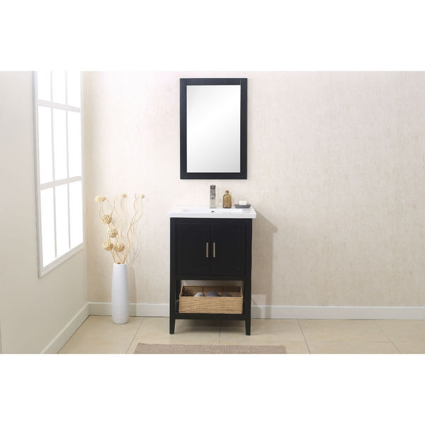 Legion Furniture Espresso Finish Wooden 24 Inch Bathroom Vanity With  Matching Mirror, And