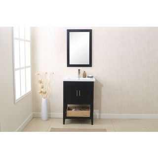 Legion Furniture Espresso-finish Wooden 24-inch Bathroom Vanity with Matching Mirror, and UPC Faucet