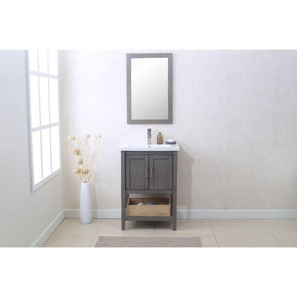 Shop 24 In Silver Grey Single Bathroom Vanity With Mirror And