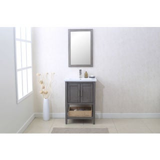 Silver Grey 24-inch Single Sink Bathroom Vanity with Mirror, Basket, and Faucet