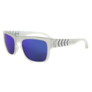 Puma PU 0038S 008 Ignite 600 Matte White Plastic Rectangle Blue Mirror Lens Sunglasses
