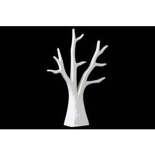 Urban Trends Collection White Ceramic Tree Jewelry Holder