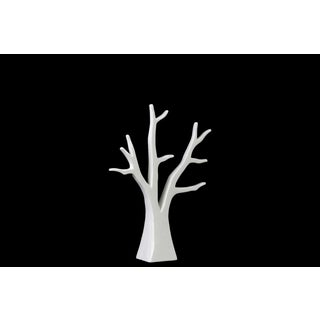 Urban Trends Collection Ceramic Tree White Small Gloss Finish Jewelry Holder