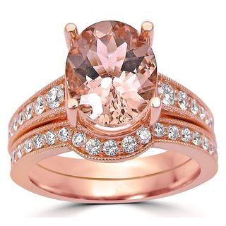 Noori 2 3/4 ct TGW Oval Cut Morganite Diamond Engagement Ring Bridal Set Vintage Style 14k Rose Gold